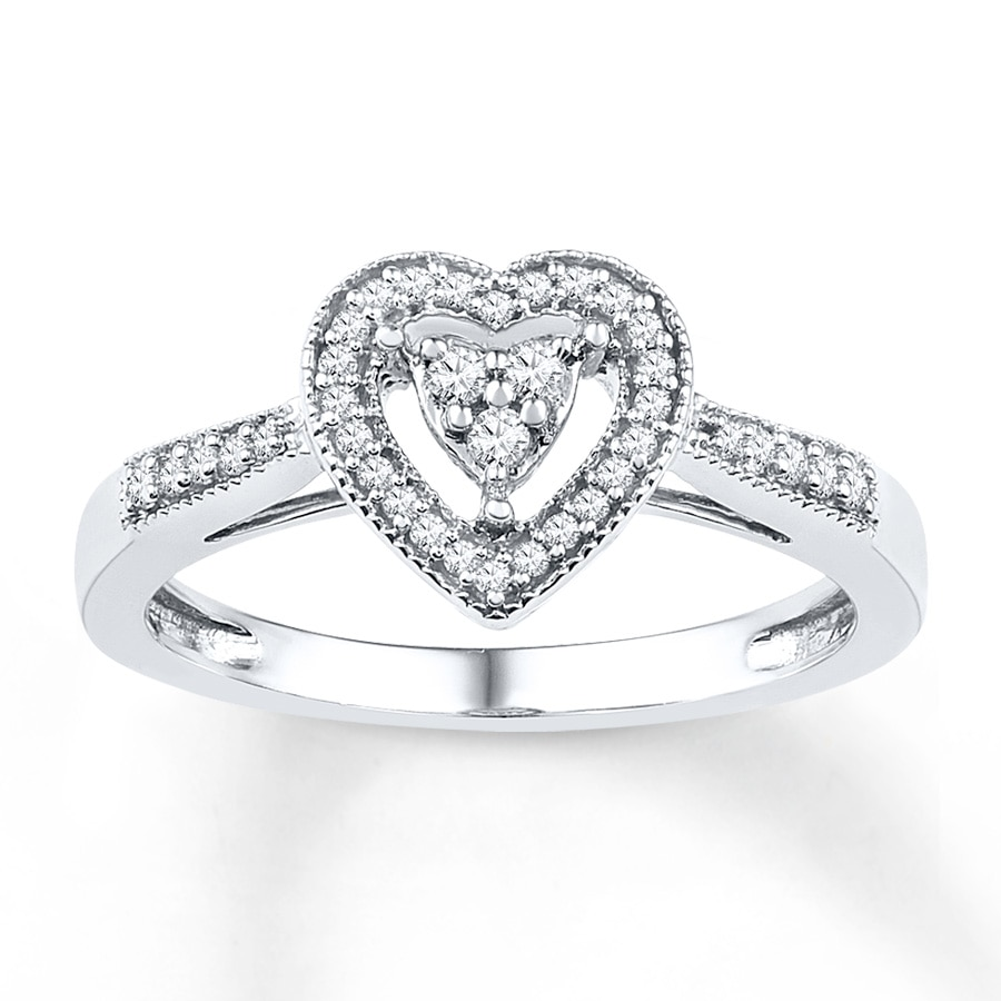 Kay Heart Promise Ring 1 5 ct tw Diamonds Sterling Silver