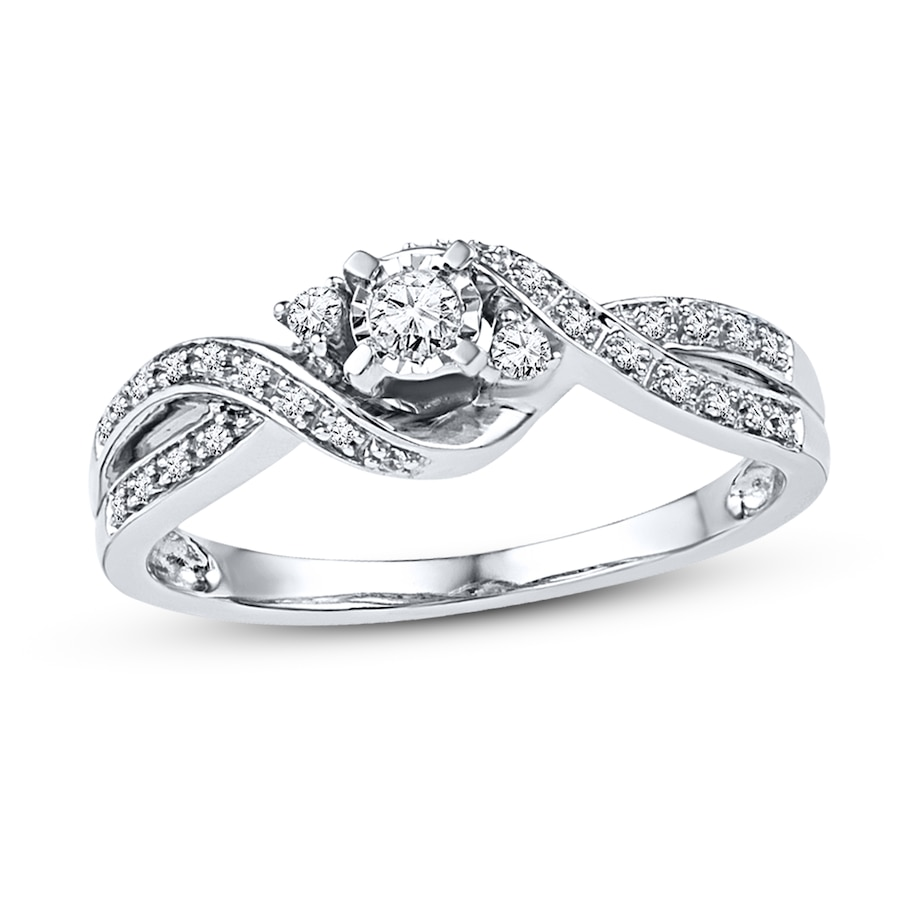 Kay Diamond Promise Ring 1 6 ct tw Round cut Sterling Silver
