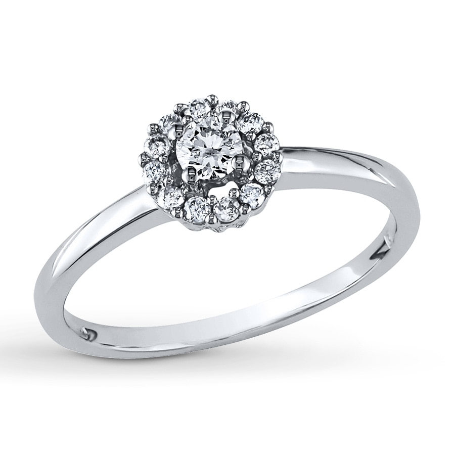 Kay Diamond Promise Ring 1 4 ct tw Round cut 10K White Gold
