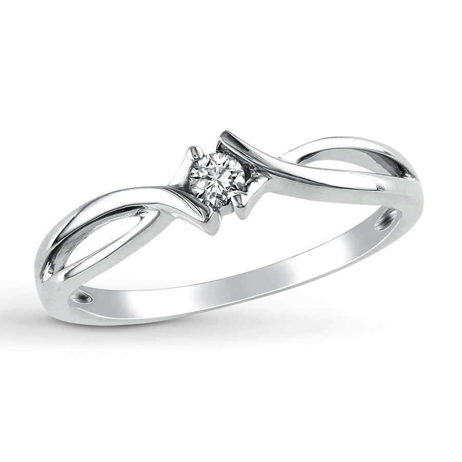 Kay Diamond Promise Ring 1 10 ct tw Round Cut 10K White Gold