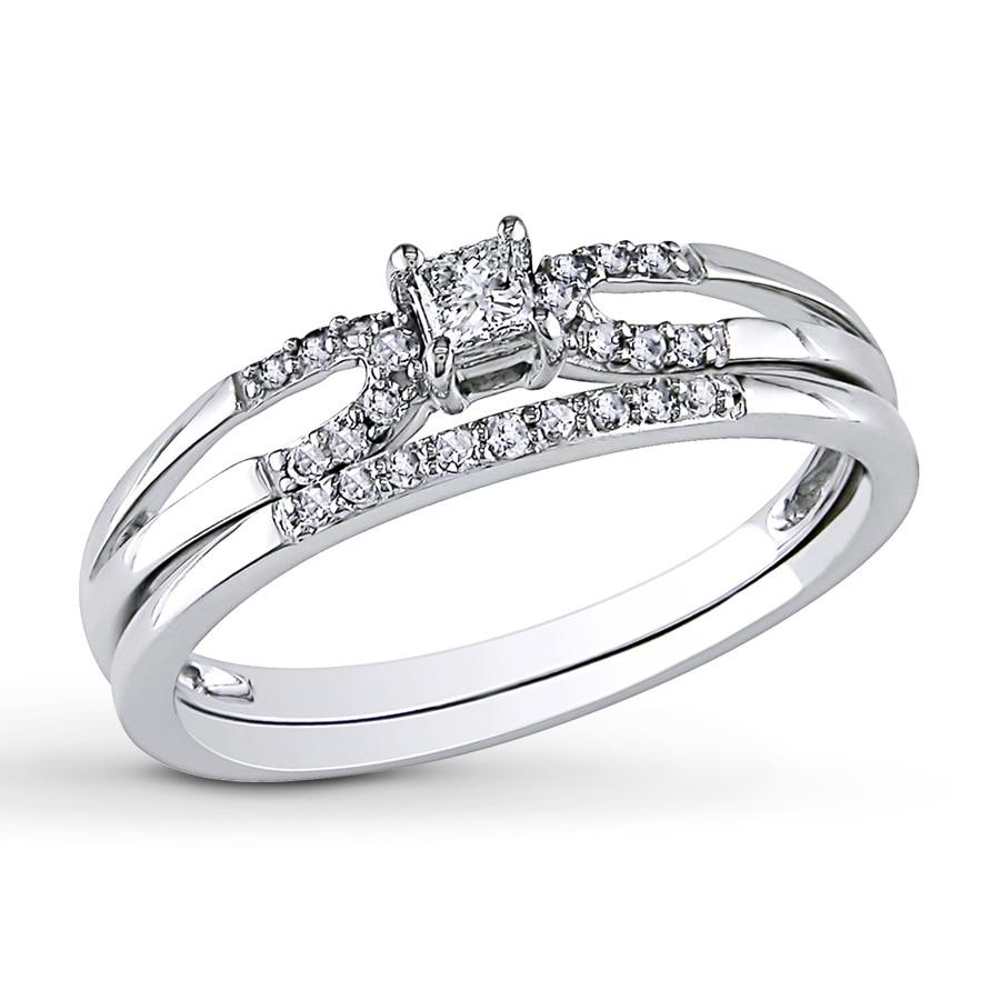 Diamond Wedding Band 1 5 Ct Tw Princess Cut 14k White Gold: Diamond Bridal Set 1/5 Carat Tw 10K White Gold
