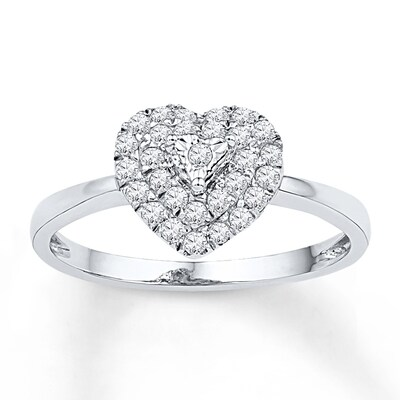 Diamond Heart Ring 1/4 ct tw Round-cut Sterling Silver
