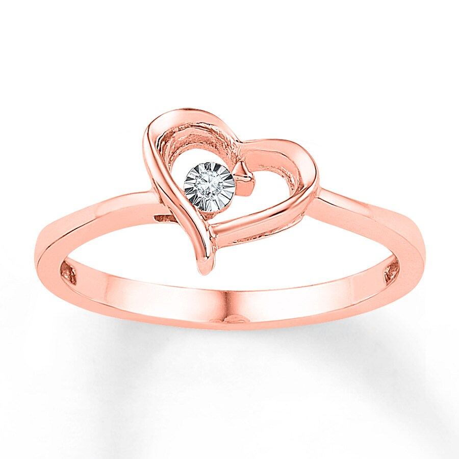 Kay Heart Ring Diamond Accents 10K Rose Gold