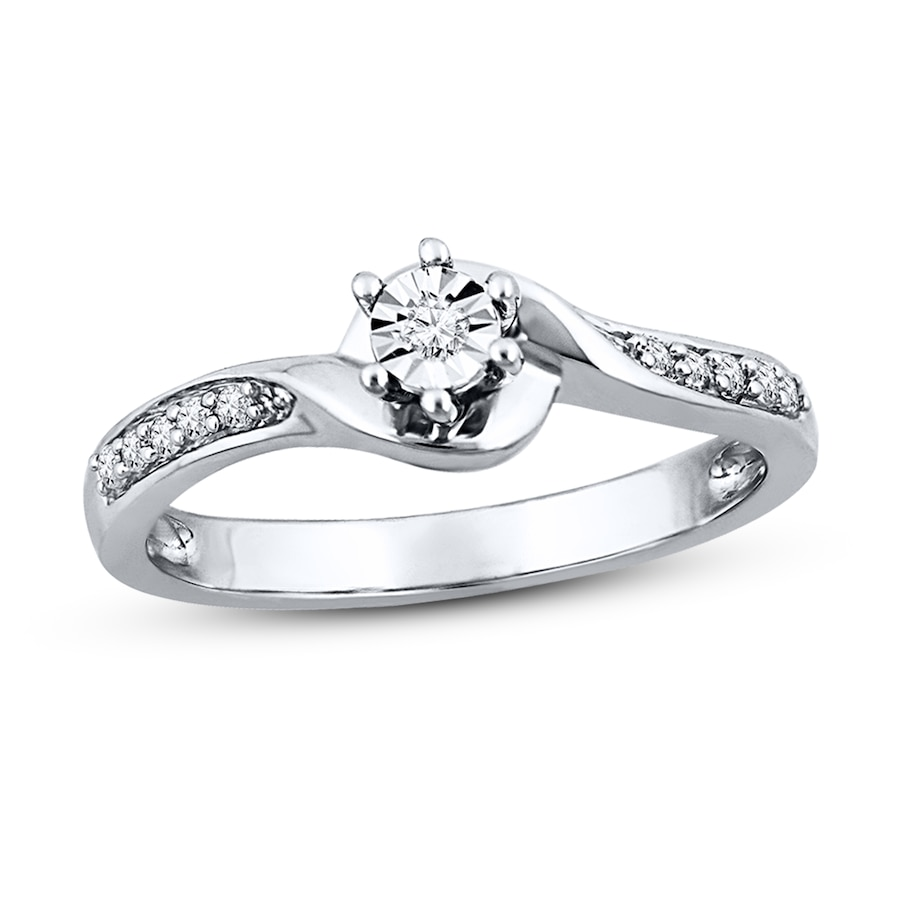 Diamond Promise Ring 1 15 Ct Tw Round Cut Sterling Silver