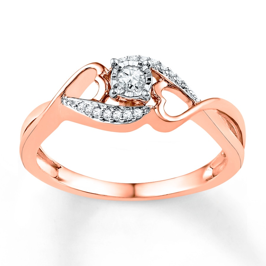 Kay Diamond Promise Ring 1 8 ct tw Round cut 10K Rose Gold