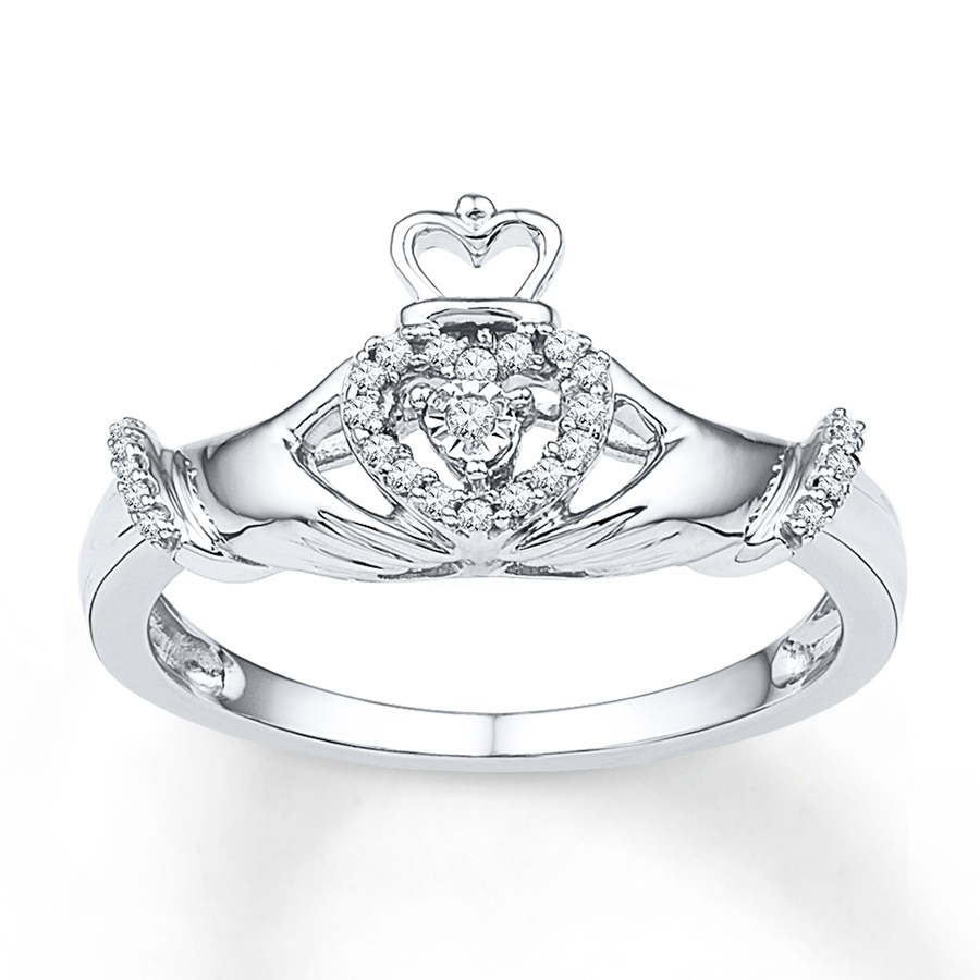 claddagh ring 1 10 ct tw diamonds sterling silver. Black Bedroom Furniture Sets. Home Design Ideas