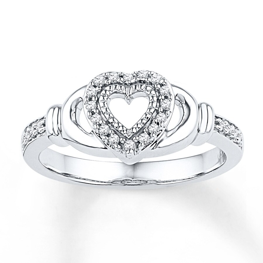 claddagh ring 1 8 ct tw diamonds sterling silver. Black Bedroom Furniture Sets. Home Design Ideas