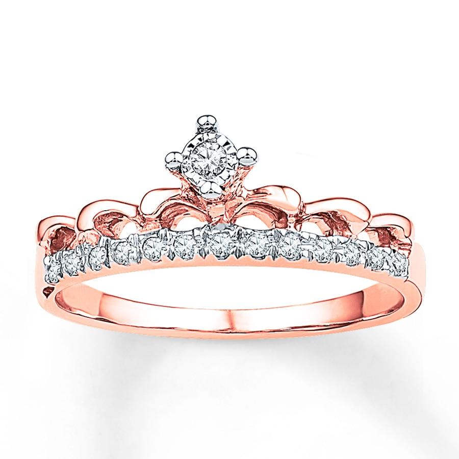 Crown Ring 1 10 Ct Tw Diamonds 10k Rose Gold 2355690599