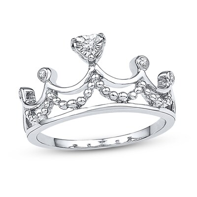 Crown Ring 1/15 ct tw Diamonds 10K White Gold