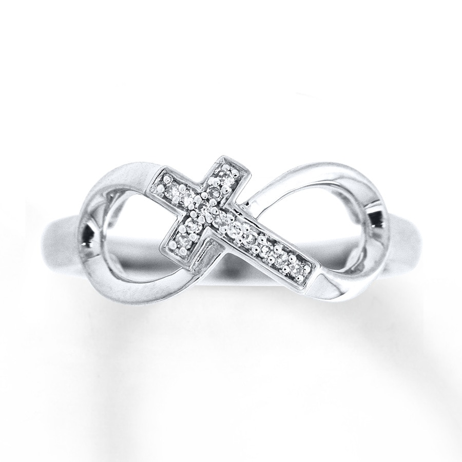 Kay cross infinity ring 120 ct tw diamonds sterling silver hover to zoom buycottarizona Choice Image