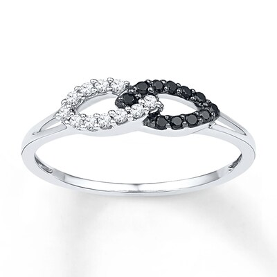 Black & White Diamond Ring 1/6 ct tw Round-cut Sterling Silver