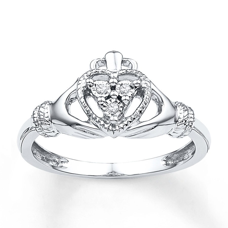 claddagh ring diamond accents sterling silver 2361470699. Black Bedroom Furniture Sets. Home Design Ideas