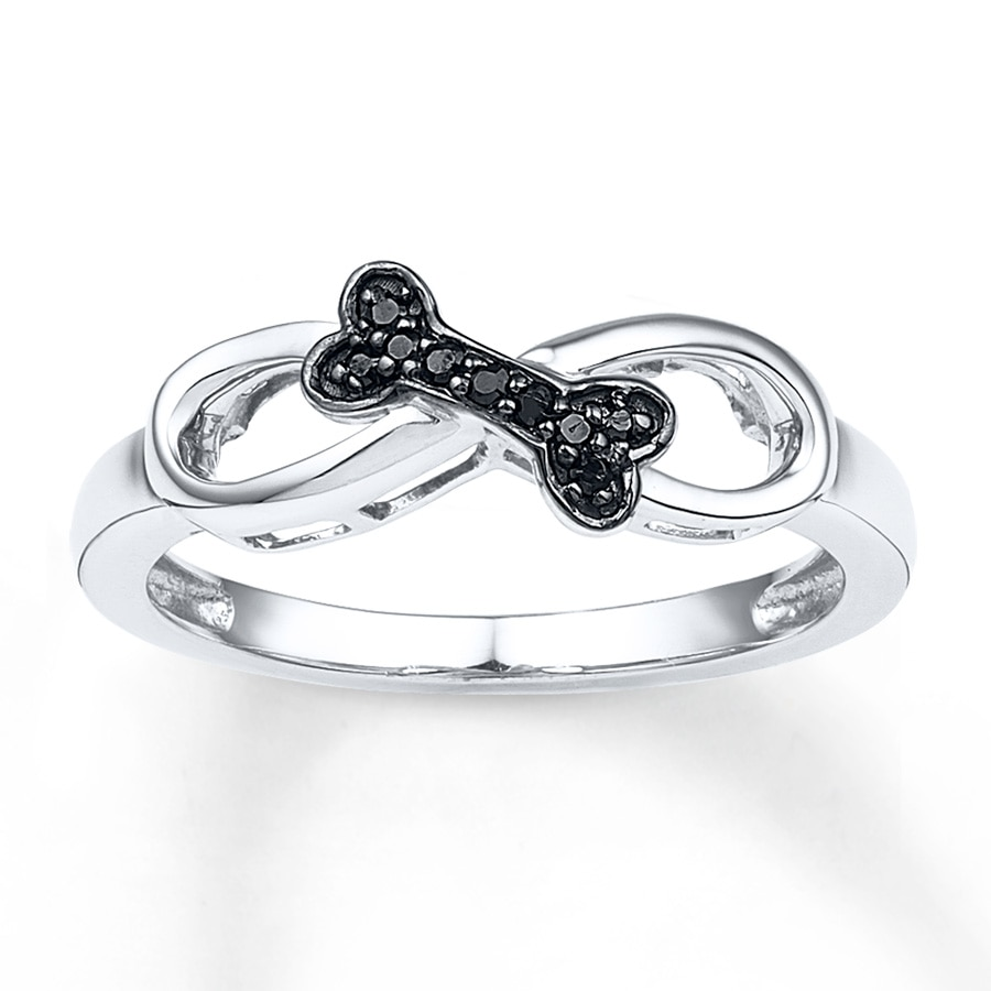 Artistry Diamonds Bone Ring 1/20 ct tw Black Diamonds Sterling Silver 4YqQ3oJzBm