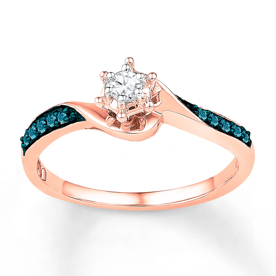 Diamond Promise Ring 1 6 ct tw Blue White 10K Rose Gold