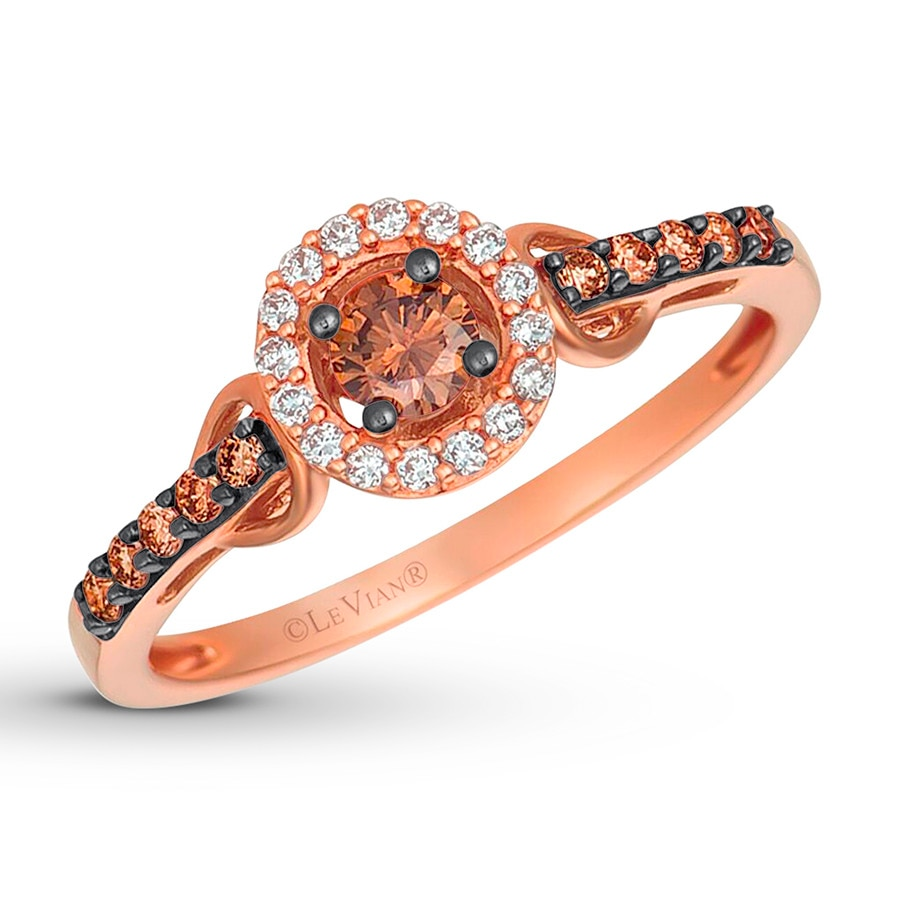 levian chocolate diamonds 13 ct tw ring 14k strawberry gold - Chocolate Diamond Wedding Ring