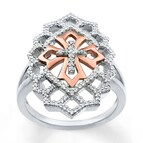 Cross Ring 1/3 ct tw Diamonds Sterling Silver/10K Gold