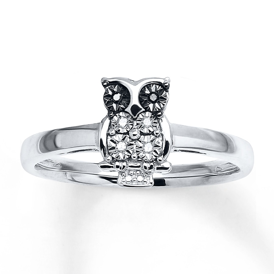 Young Teen Owl Ring Black Amp White Diamonds Sterling Silver