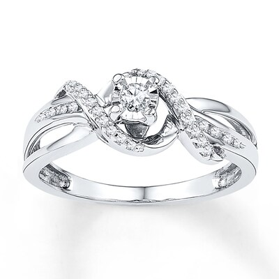 Promise Ring 1/6 ct tw Diamonds 10k White Gold