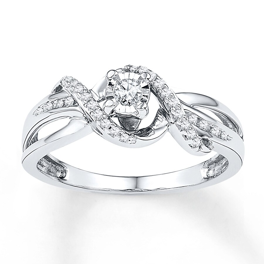 Kay Promise Ring 1 6 ct tw Diamonds 10k White Gold