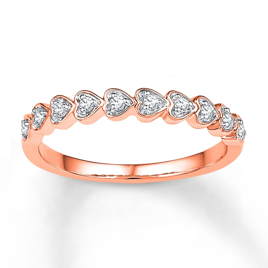 Kay Heart Ring 1 8 ct tw Diamonds 10K Rose Gold