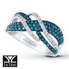 LeVian Diamond Ring 7/8 ct tw Blue/White 14K Vanilla Gold
