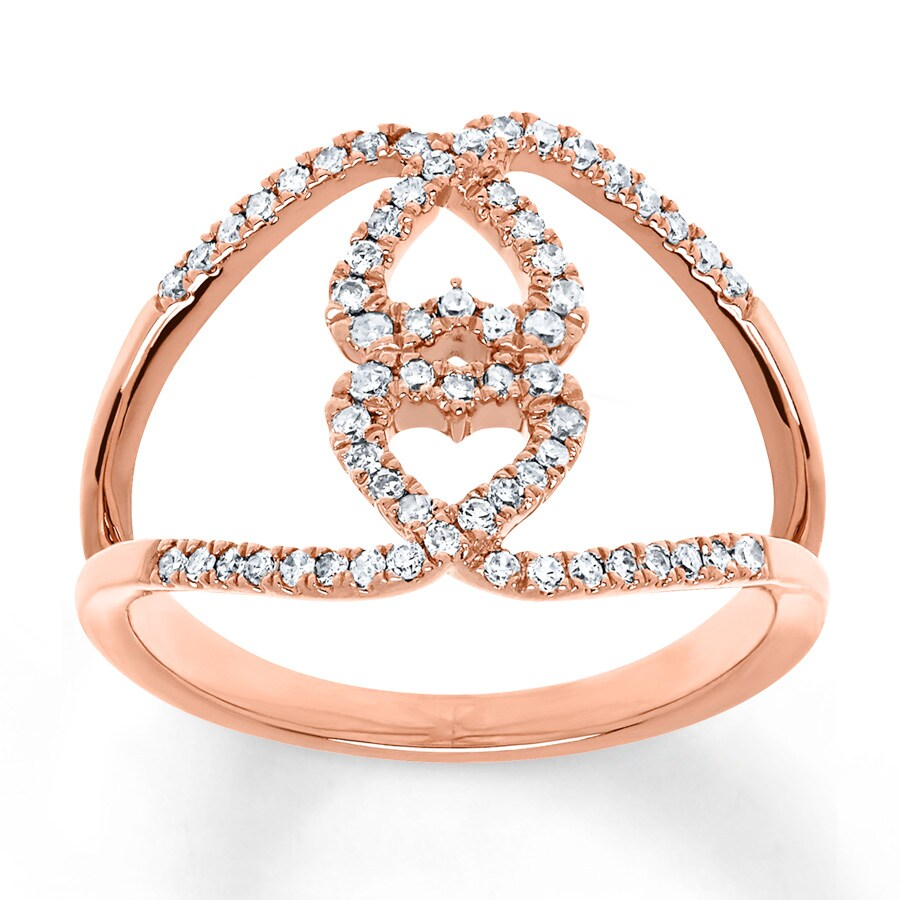 Kay Heart Ring 1 3 ct tw Diamonds 10K Rose Gold