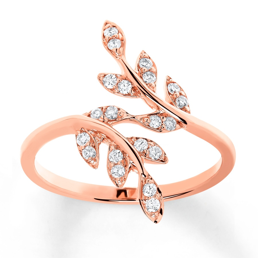 Kay Leaf Ring 1 5 ct tw Diamonds 10K Rose Gold
