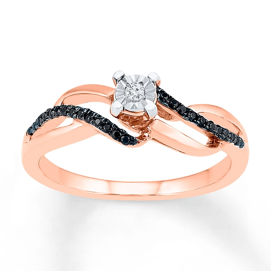 Kay Diamond Promise Ring 1 6 ct tw Black White 10K Rose Gold