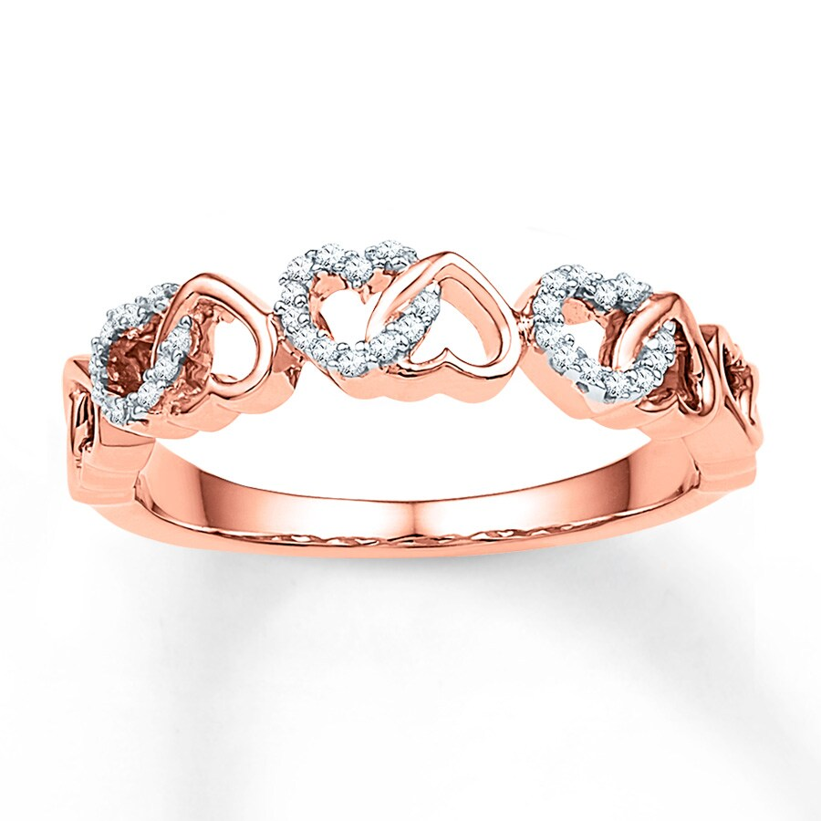 Kay Heart Ring 1 10 ct tw Diamonds 10K Rose Gold