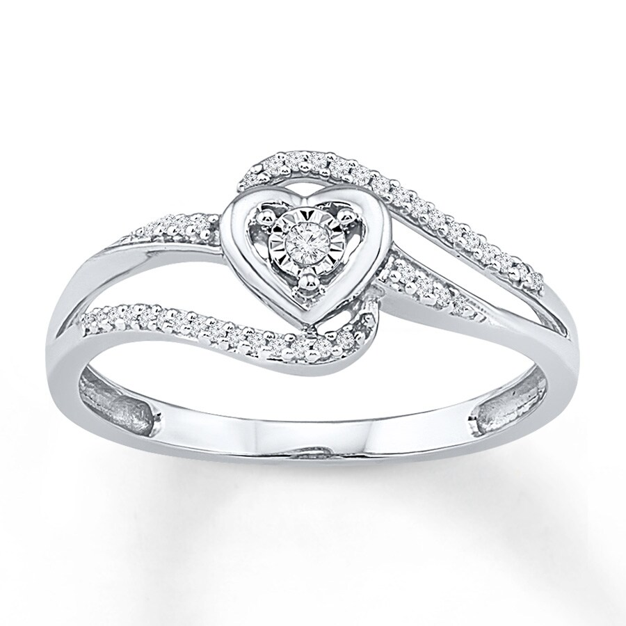 Kay Heart Ring 1 10 ct tw Diamonds 10K White Gold