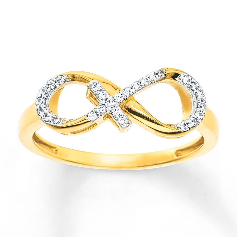 Infinity Amp Cross Ring 1 10 Ct Tw Diamonds 10k Yellow Gold