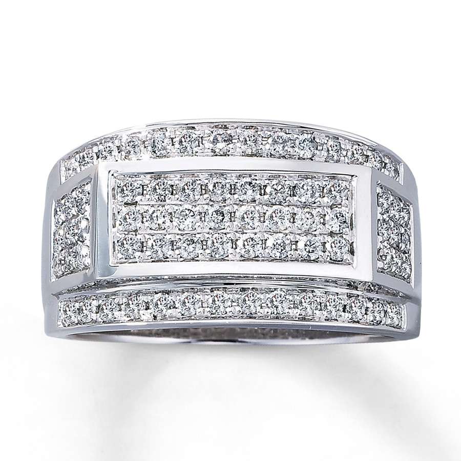 Kay Mens Diamond Ring 1 ct tw Roundcut 10K White Gold