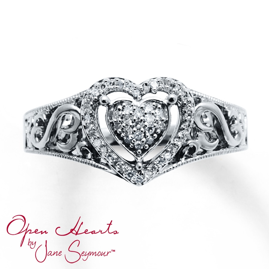 Kay Open Heart Ring 1 8 Ct Tw Diamonds Sterling Silver