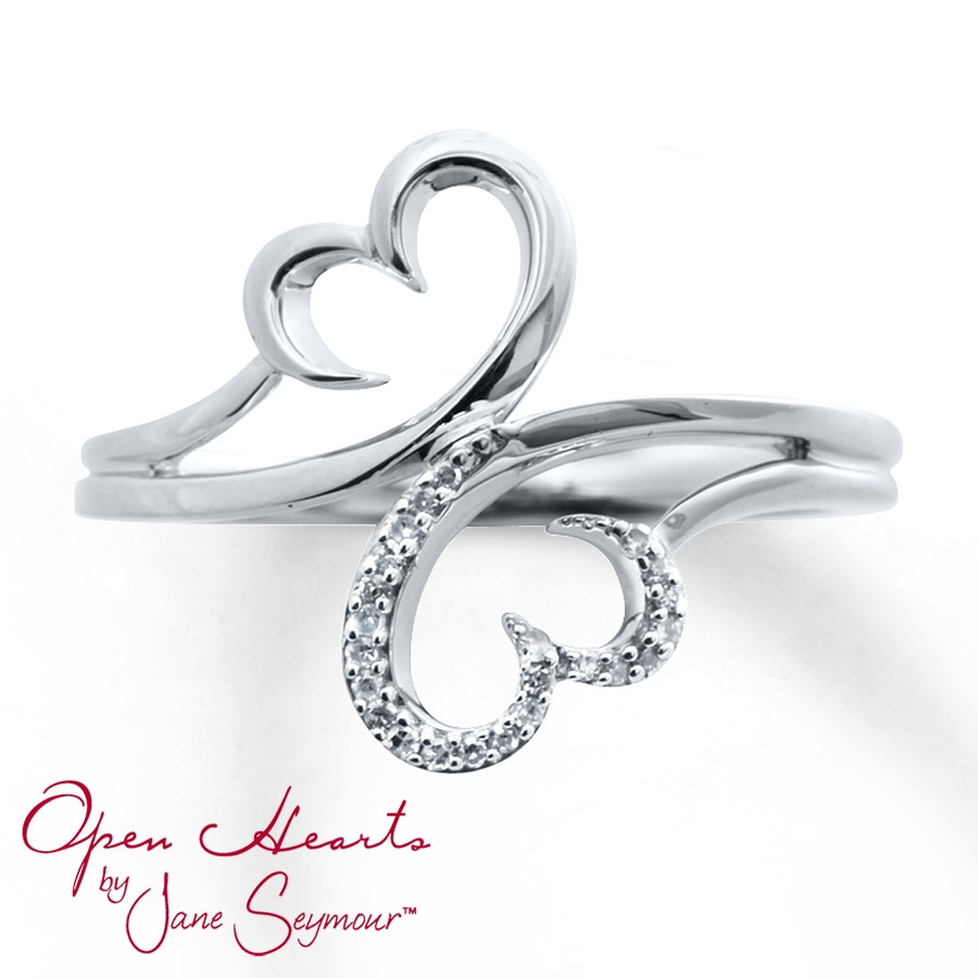 Kay Open Heart Ring 1 20 Ct Tw Diamonds Sterling Silver