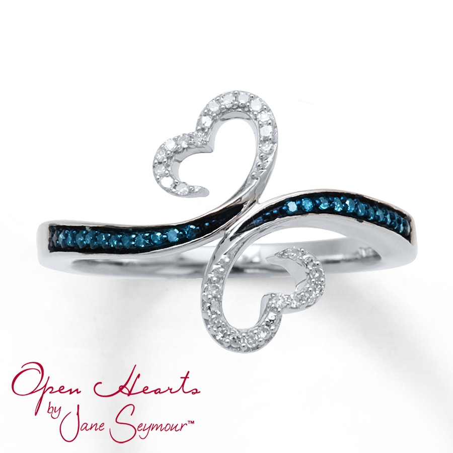 Kay Open Hearts Waves Ring 1 10 Ct Tw Diamonds Sterling Silver