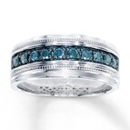 Men's Blue Diamond Ring 1/2 ct tw Round-cut Sterling Silver