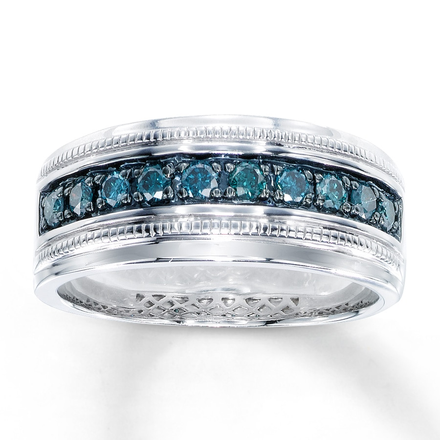 Men S Blue Diamond Ring 1 2 Ct Tw Round Cut Sterling Silver