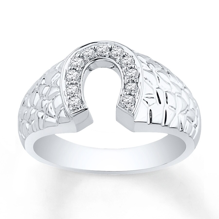 hover to zoom - Horseshoe Wedding Rings
