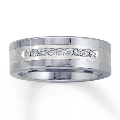 8mm Triton Wedding Band 1/4 ct tw Diamonds Tungsten Carbide