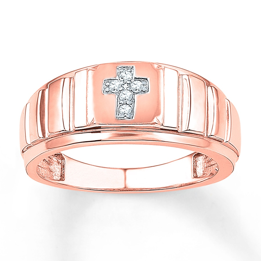 Kay Men s Cross Ring 1 20 ct tw Diamonds 10K Rose Gold