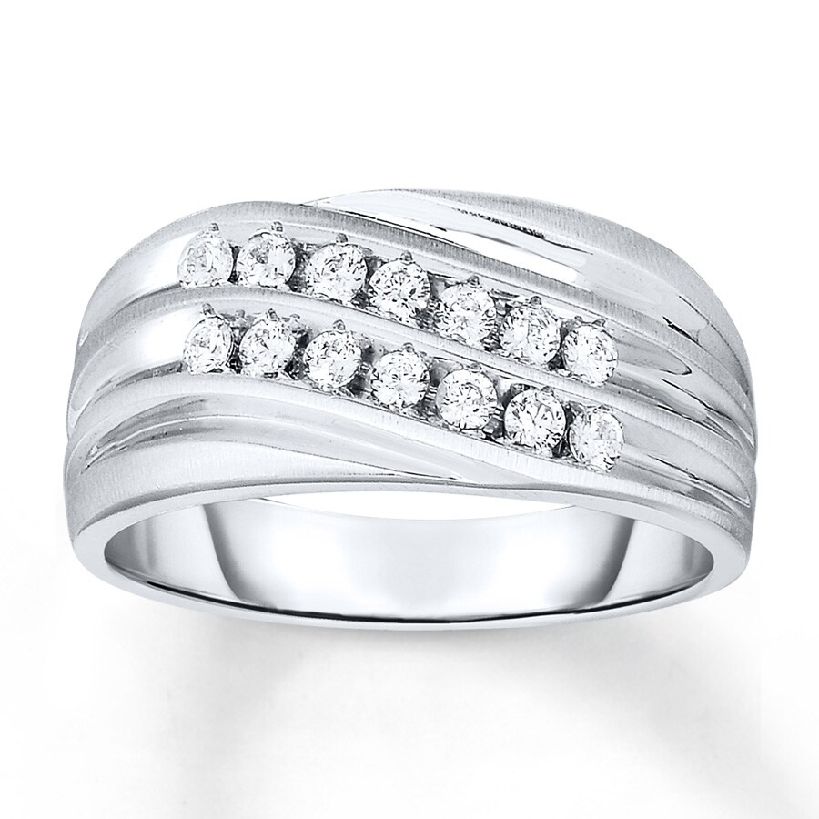 Kay Men s Ring 1 2 ct tw Diamonds 14K White Gold