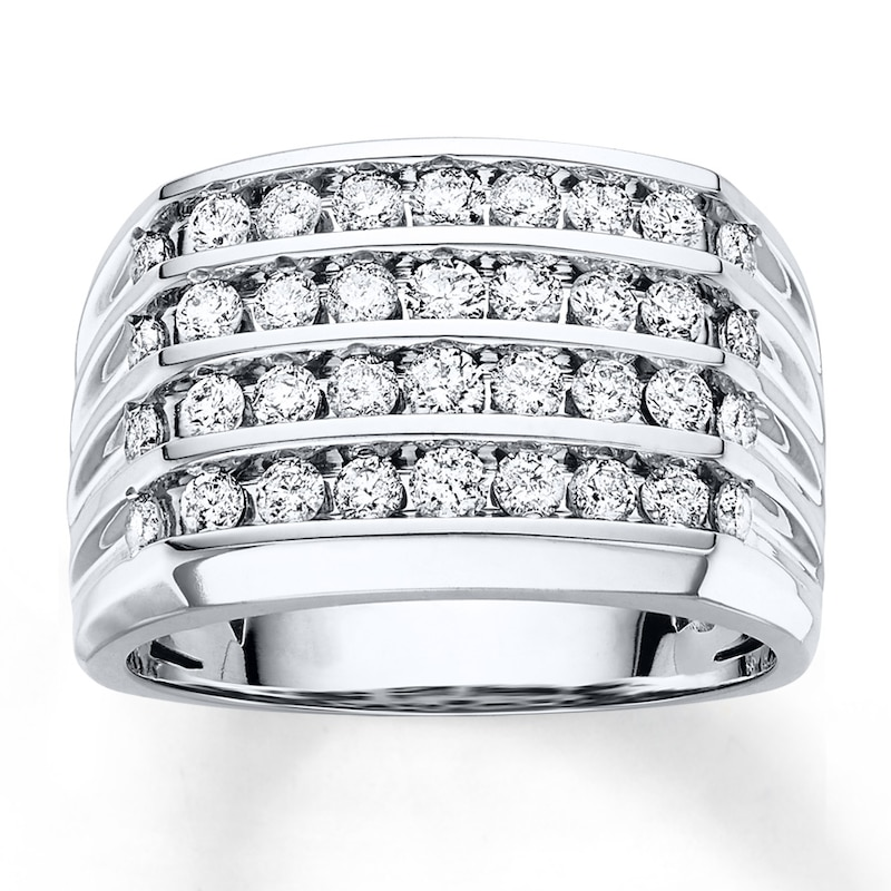 Men S Diamond Ring 1 1 2 Ct Tw Round Cut 10k White Gold Mens
