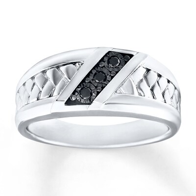Mens Wedding Ring 1/15 ct tw Diamonds Sterling Silver