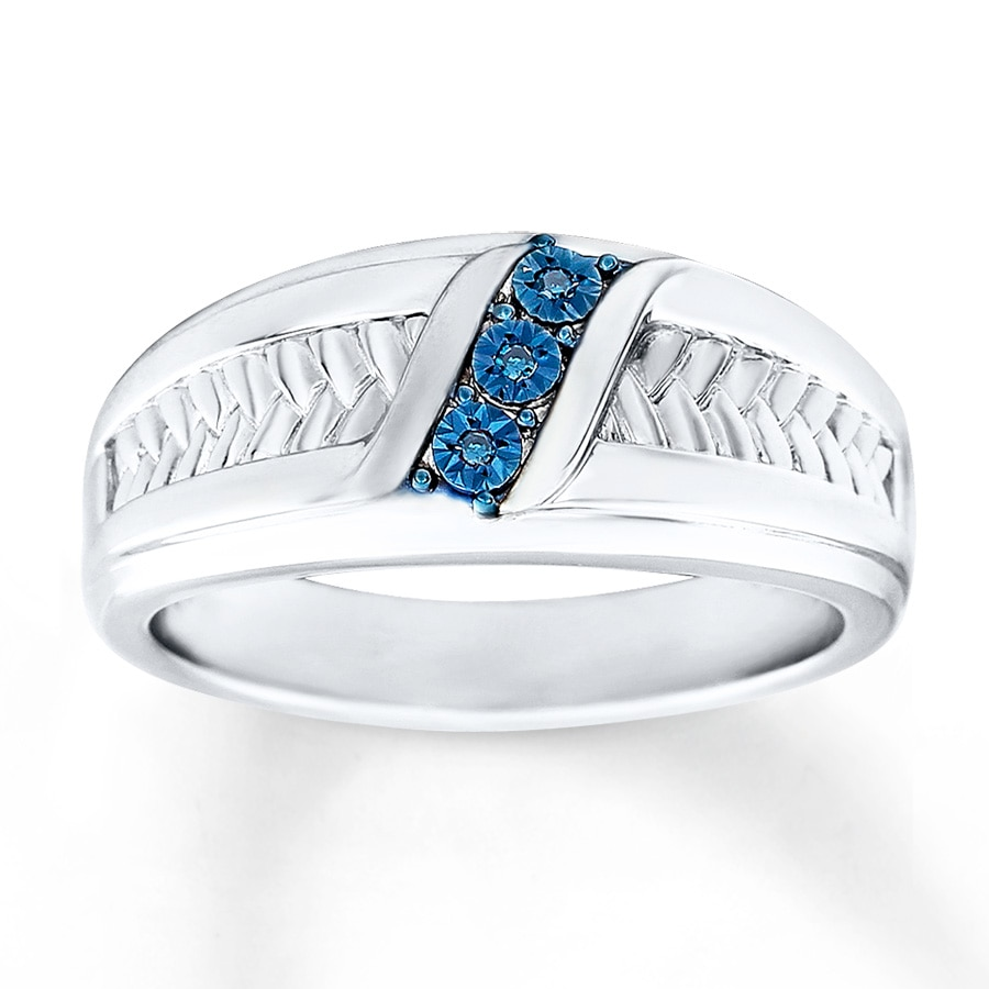 Kay men39s wedding ring blue diamond accents sterling silver for Mens wedding ring with blue diamonds