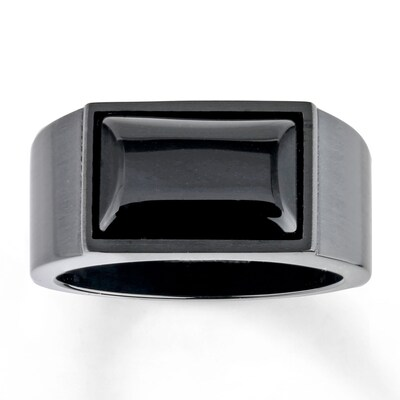 Mens Ring Agate Stainless Steel