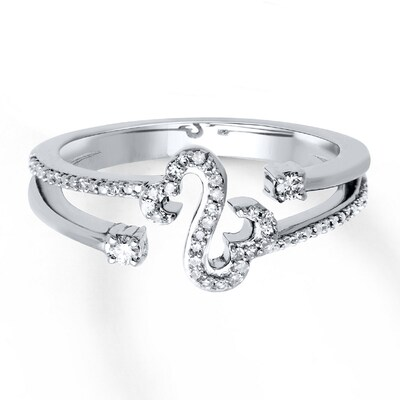 Open Hearts Ring 1/8 ct tw Diamonds Sterling Silver