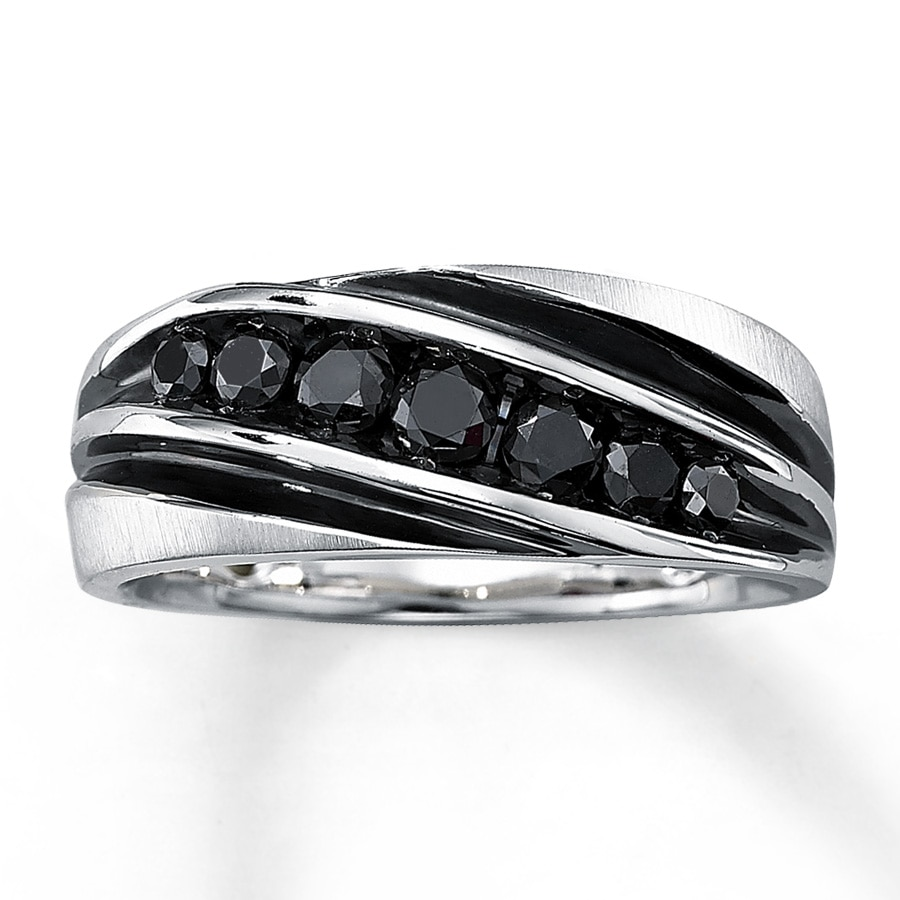 kay - men's black diamond ring 3/4 ct tw round-cut 10k white gold