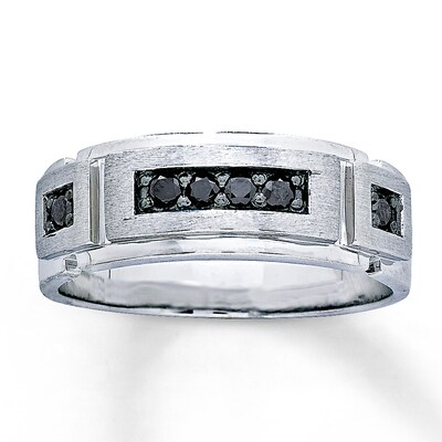 Men's 6mm Wedding Ring 1/4 cttw Black Diamonds 10K White Gold Artistry Diamonds