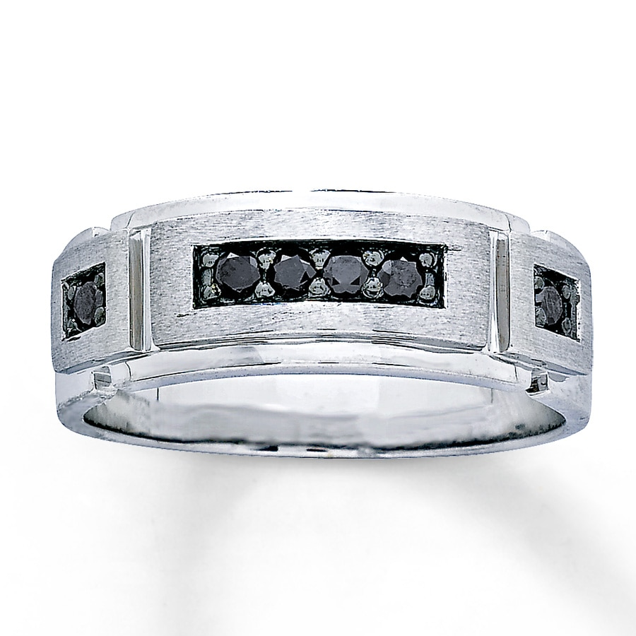 mens black diamond ring 1 4 ct tw round cut 10k white gold platinum diamond wedding bands Hover to zoom