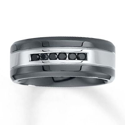 9mm Wedding Band 1/4 ct tw Black Diamonds Stainless Steel